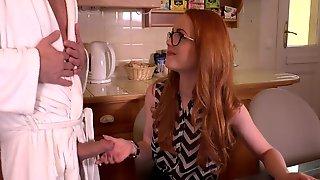 British redhead gives a blowjob