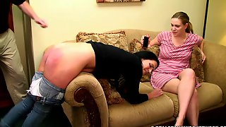 Bare bottom strapping in front of not her sister