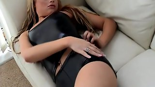 Let me tease your cock in my shiny black PVC panties