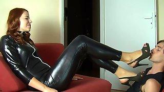 Polish slut in shiny spandex catsuit foot licking