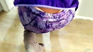 Tight blonde spandex thong slips