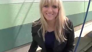 Sexy blonde sucks big cock and swallows cum