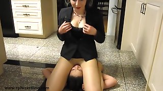 Raging Real Estate Agents - Fighting Girls with Headscissors