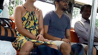 Sexy European Couple in Sri Lankan Train with Legs spread