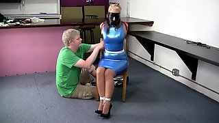 Secretary In A Blue Latex Dress Collared Leashed And Trained