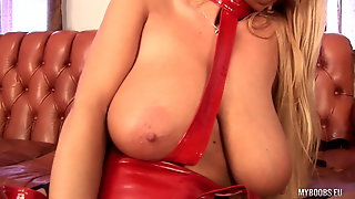 Huge tits MILF Veronica Gold in latex lingerie ride on Sybia