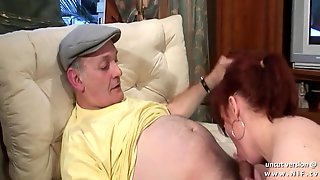 Amateur chubby french redhead whore banged by an old man