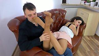 Tan Nylon Worship on Sofa