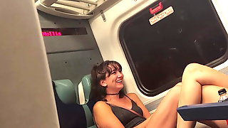 Sexy young legs on train