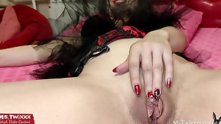 Sexy Bunny Play Butt Plug and Wet Pussy after Waking Up