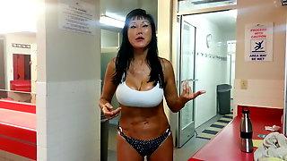 Big tit crazy asian lady in sauna 2
