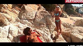 LETSDOEIT - Romantic Sex At The Beach With Two Hot Lesbians