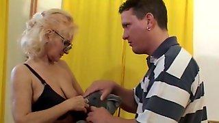Granny in Glasses and Stockings Sucks and Fucks