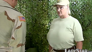 Lacey Starr rides and services mature cock in the military