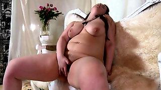 Beautiful BBW caresses hairy vagina