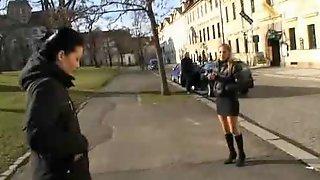 Cute czech girls having fun in public places