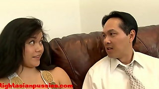 Fat Milf Asian Slob fucks small dick asian loser cant cum