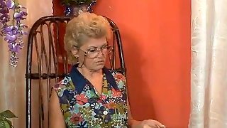 Granny Effie fucked with a TV repairman in the ass and pussy