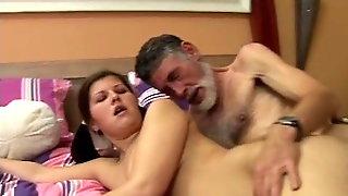 Sex initiation of Pearl by best friend grandpa