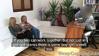 Casting Two blonde horny amateurs fuck hard in interview