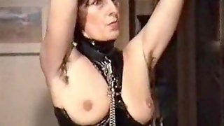 German mature femdom- slave must lick her hairy armpits